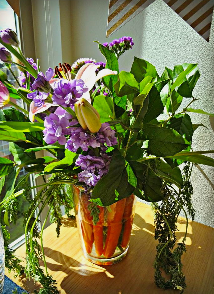 floral carrot centerpiece